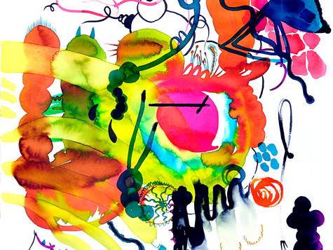 Safari journey, 54/54 cm, water color on paper