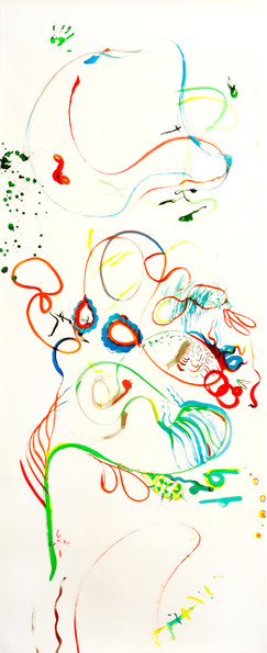 """""""Balance and equilibrium in motion"""" Asymmetrical two hands drawing /4 liquid watercolor on paper 354/140cm"""