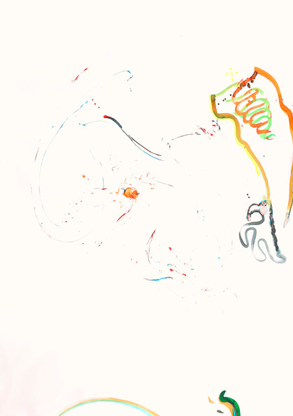 """""""Balance and equilibrium in motion"""" Asymmetrical two hands drawing /1 liquid watercolor on paper 189/140cm"""