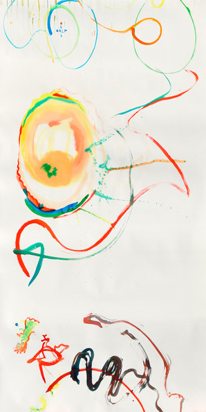"""""""Balance and equilibrium in motion"""" Asymmetrical two hands drawing /3 liquid watercolor on paper 232/140cm"""
