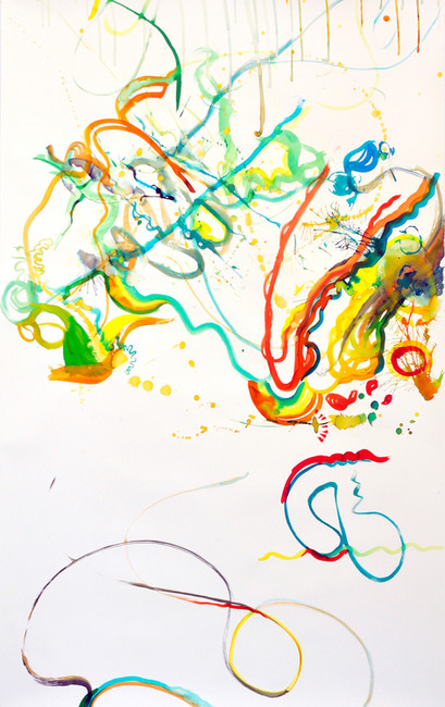 """""""Balance and equilibrium in motion /2""""; liquid watercolor on paper 225/140cm"""