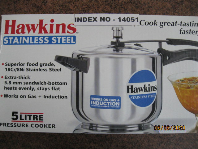HAWKINS PRESSURE COOKER STAINLESS STEEL 5 LITRE INDUCTION COMPATIBLE (B 30)