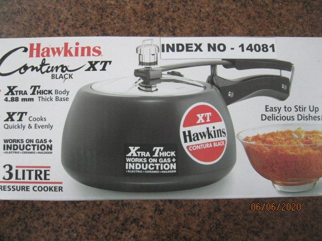 HAWKINS PRESSURE COOKER CONTURA BLACK 3 LITRE XT INDUCTION COMPATIBLE(CXT30)