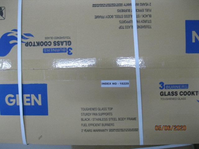GLEN  THREE BURNER GLASS TOP LPG STOVE 1031 GT EX   WITH BRASS BURNER