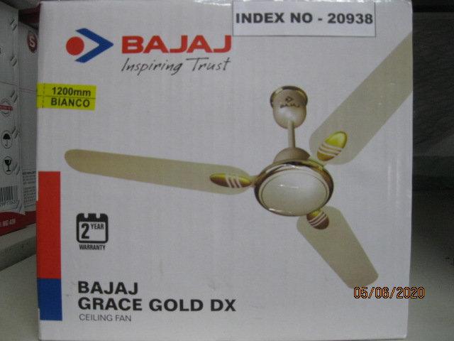 BAJAJ CEILING FAN GRACE GOLD DLX 1200 MM WITHOUT REGULATOR