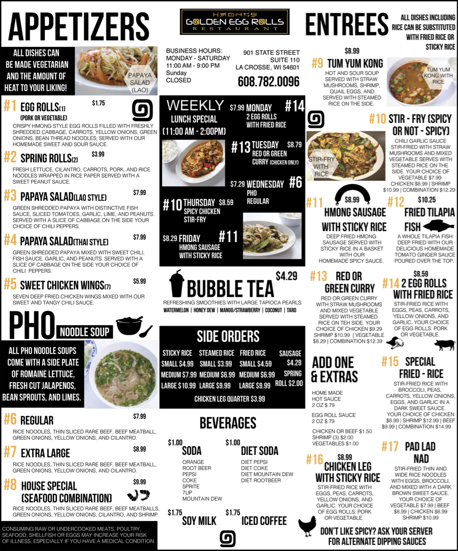 Golden Hmong Menu Ad
