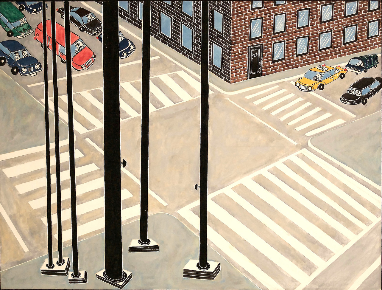 "Crosswalk 2019 36""x48"" acrylic on canvas"