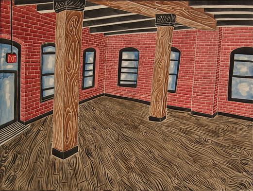 "Brooklyn Loft 2018 36""x48"" acrylic on canvas"