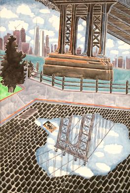 Diego's Bridge 2019 54 x 36 acrylic on canvas
