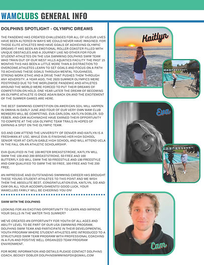 Article about Dolphin swim members competing in the Olympic Trials