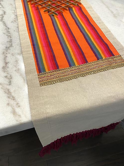 Natural linen embellished Table Runner
