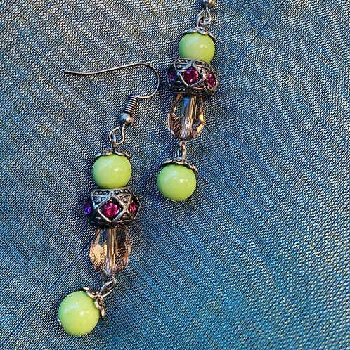 Fresh green long earrings silver
