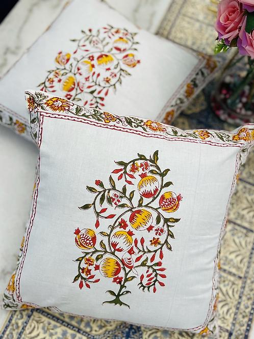 Set of 2 block print pillow case ,16 inch x16 inch .