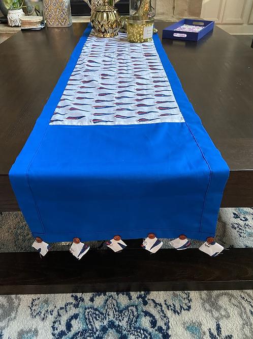 Royal blue block print Table Runner