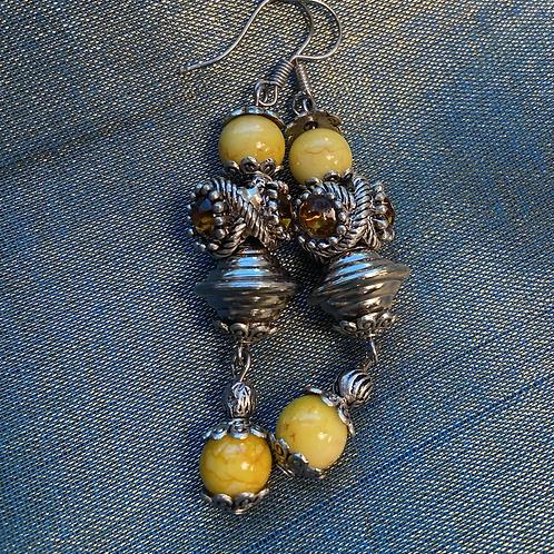 Yellow long earrings silver