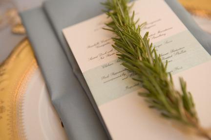 Fresh Rosemary on Napkins