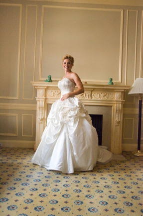 Bridal Portrait by Fireplace