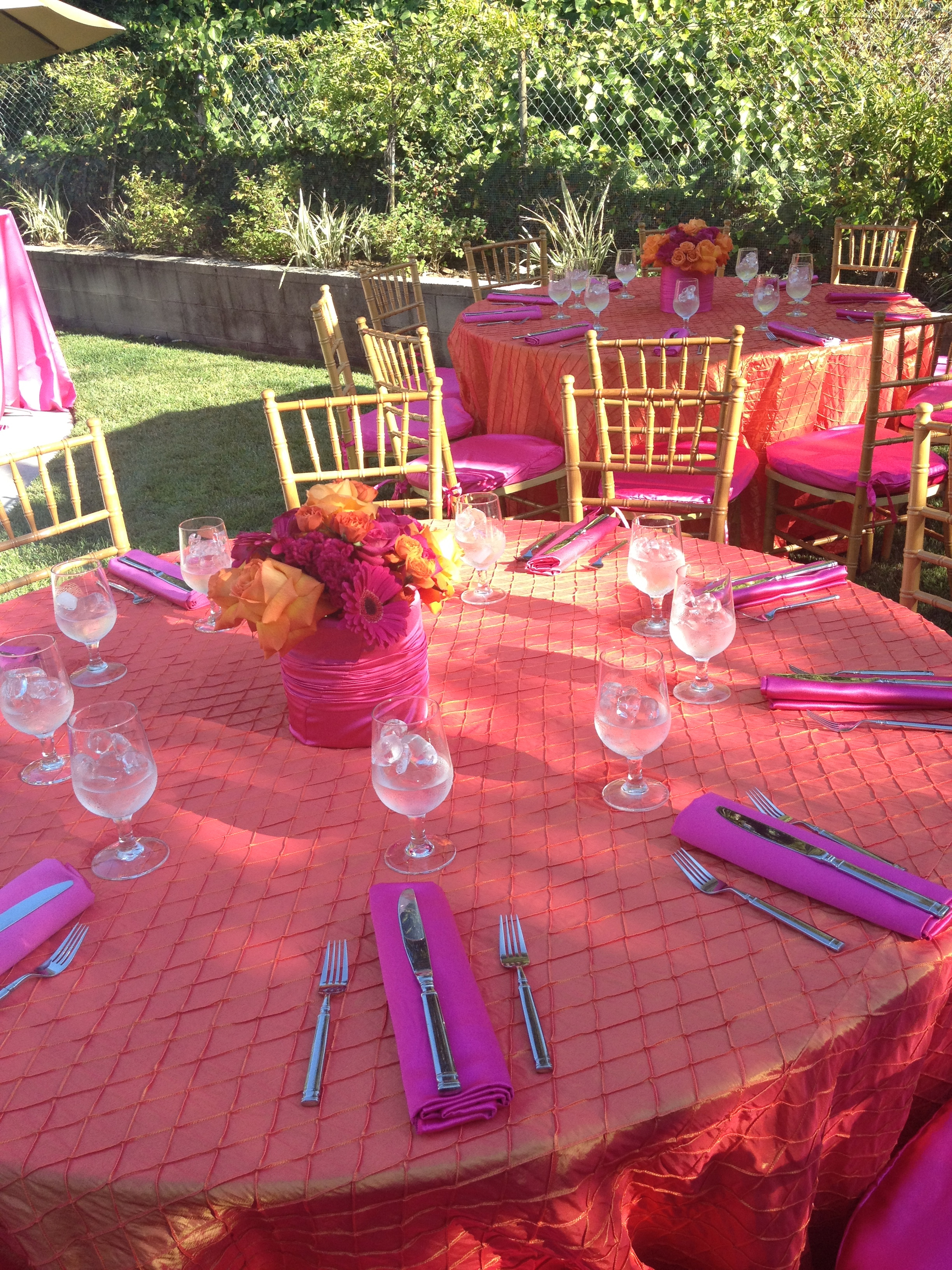 Orange and Fuschia Decorations