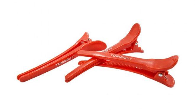 Зажимы для волос TONI&GUY 12 см пластик красный 10 шт.