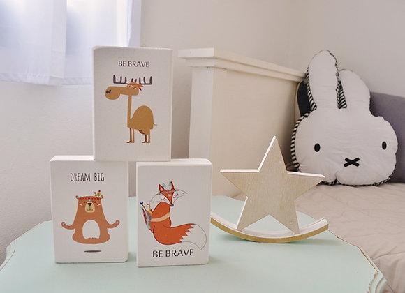 קוביות עץ לעיצוב חדרי ילדים (מודפסות)