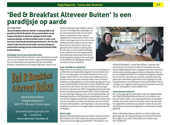 Artikel Bed and Breakfast Groningen Alte
