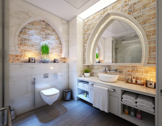 rustic bathroom white, brick , marble wall