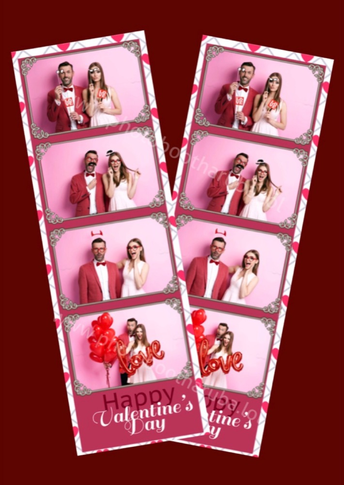 Photo strips in Valentines Day style