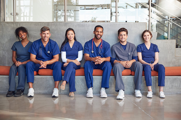 Healthcare workers sitting in a modern h