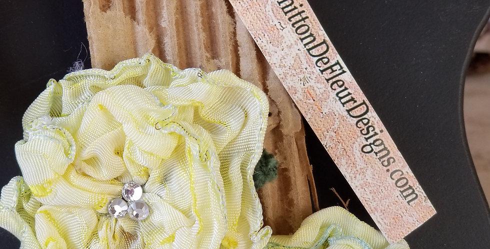 Lemon Chiffon- Pair of small brooches