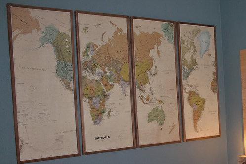 Weltkarte in 4 Teilen