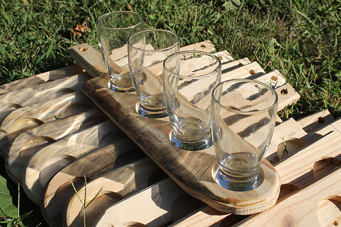 Beer Flight- Rounded Pine Paddle Four