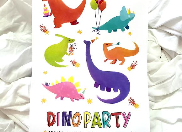 Dinoparty Branco - Print holográfico A4