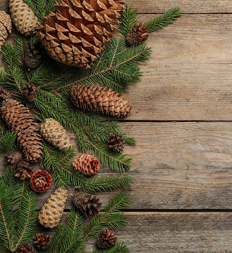 Flat%20lay%20composition%20with%20pinecones%20on%20wooden%20background%2C%20space%20for%20text_edite