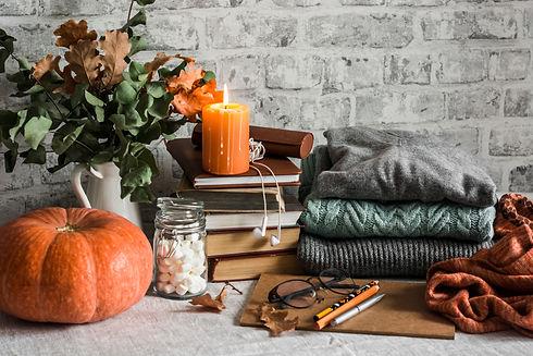 Autumn cozy home still life. Pumpkin, st