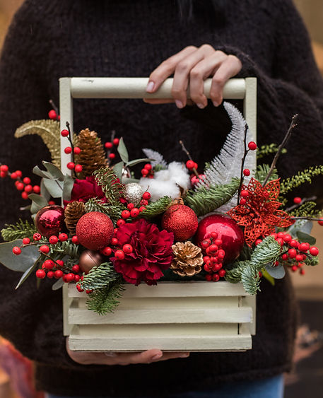 Christmas bouquet. Red flower of  carnat