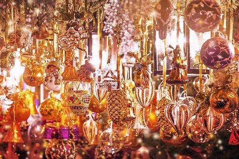 Christmas decorations on the Christmas m