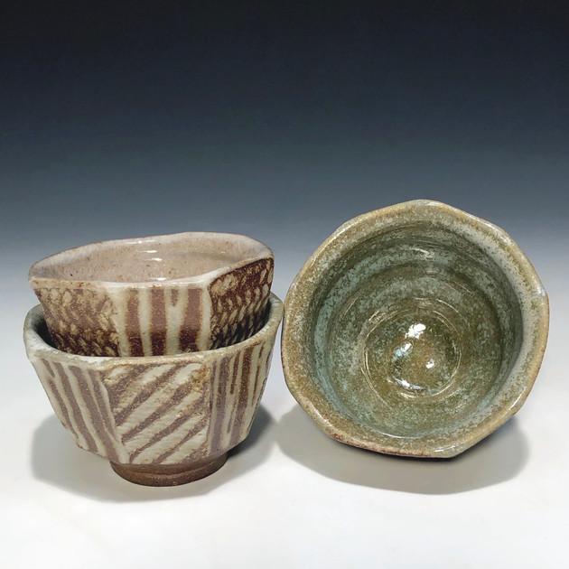 faceted cups - salt glazed