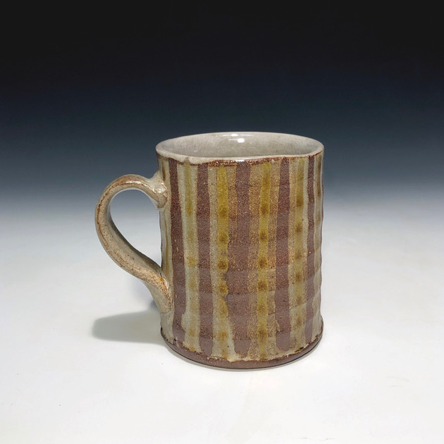 stripped mug - salt glazed