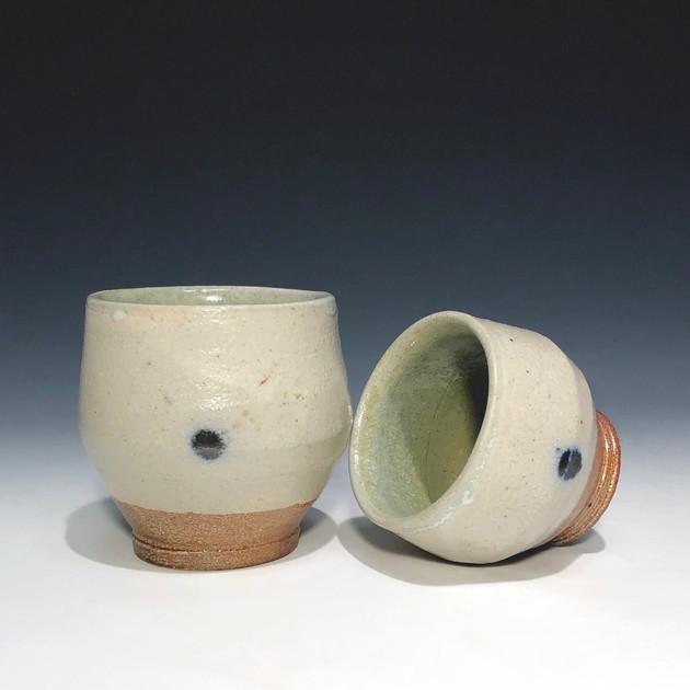 cups - blue dots, salt glazed