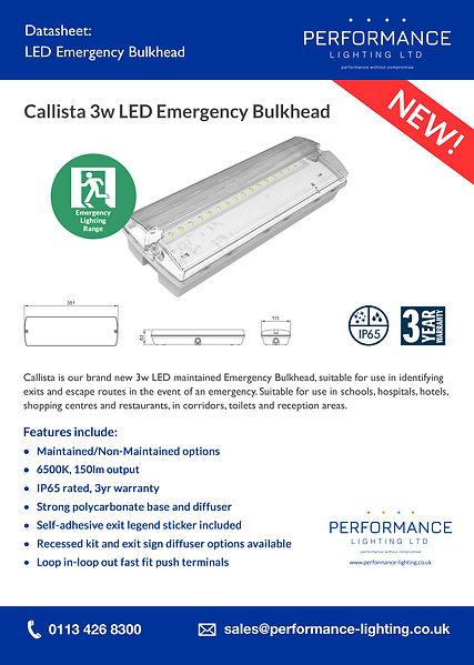 Callista 3W LED Emeregency Bulkhead