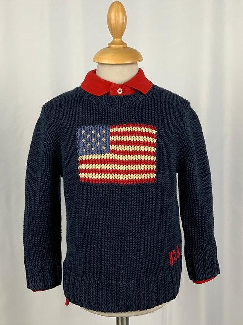 Golf girocollo in caldo cotone con bandiera americana Polo Ralph Lauren