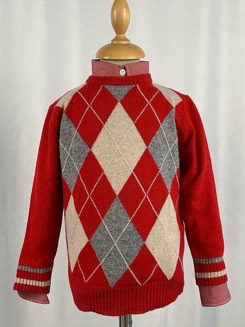 Golf di cashmere girocollo rombi rossi, grigi, beige