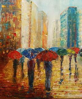 Danuta Sandomierska Rain olio su tela 50