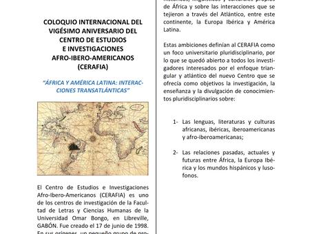 """Coloquio Internacional """"África y América Latina: interacciones trasatlánticas"""" en Gabon (M"""