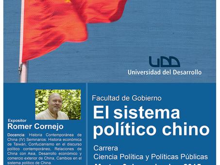 """Charla """"El Sistema Político chino"""", 3 de noviembre en UDD"""