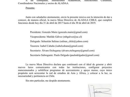 Cambio Mesa Directiva de ALADAA CHILE.