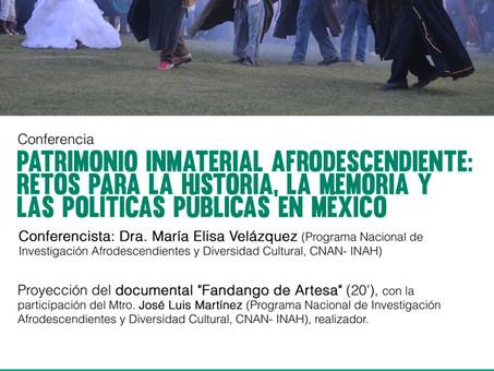 """Conferencia """"Patrimonio inmaterial afrodescendiente..."""", 16 de noviembre, Universidad de C"""