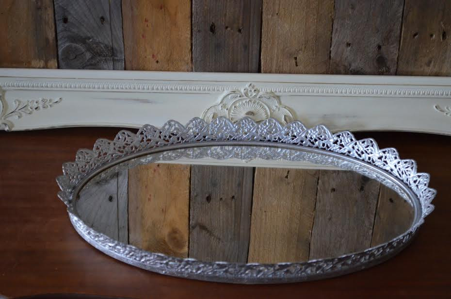 Silver Mirrored Makeup Tray