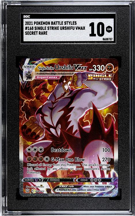 SGC 10 Gem Mint - Pokémon Single Strike Urshifu VMAX Secret Rare #168