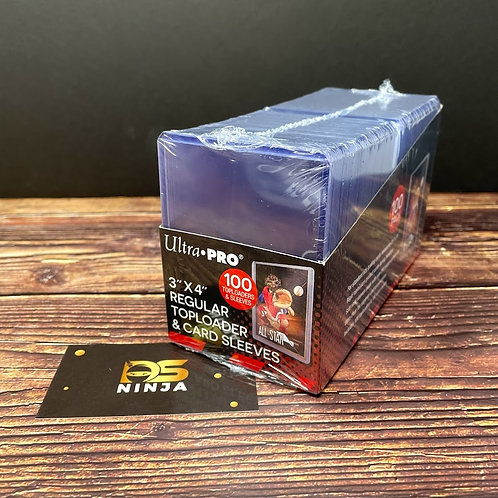 """100 count - Ultra Pro 3"""" x 4"""" Clear Regular Toploaders and Soft Sleeves Bundle"""